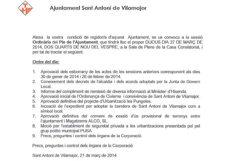 ordre del dia Ple de març 2014