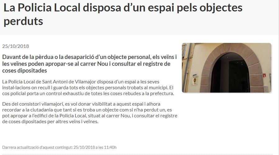 Objectes perduts policia local